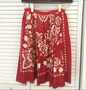 Anna Sui Floral A-line Cotton Boho Skirt Red and Cream