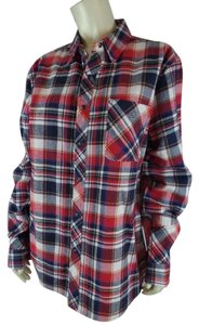 Artistix Plaid Oversized Snap New Flannel Top Red, White, Yellow, Blues