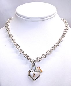 Tiffany & Co. Tiffany & Co Heavy Vintage Sterling & 18K Gold Heart & Lock Charm Necklace 16