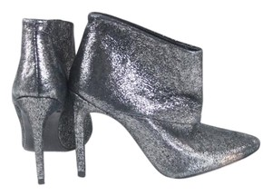 Zara Silver Leather Ankle Heels Boots