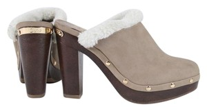 Juicy Couture Taupe Suede Faux Mules