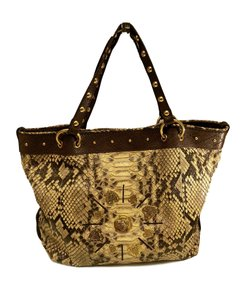 Gucci Python Leather Tote in Brown