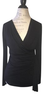 Karen Kane Long Sleeved Faux Wrap Top Black