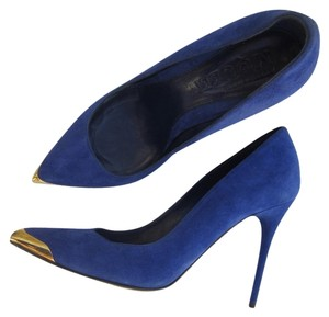 Alexander McQueen Pointed Toe Gold Hardware Blue Pumps