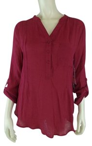 Kate & Sam New Pleat Sheer Pullover Boho Top Wine