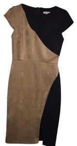 New York & Company Suede Sheath Color-blocking Dress