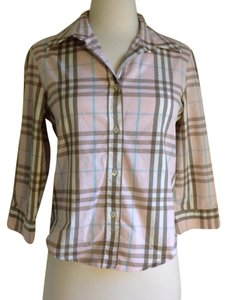 Burberry Button Down Shirt Pink Plaid
