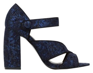 Zara Jacquard Fall Holiday Blue and Black Sandals