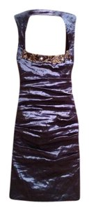 Nicole Miller Party Classic Sheath Ruched Metallic Taffeta Dress