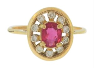 Other Antique Halo Ruby Diamond Ring - 14k Yellow Gold Ring -