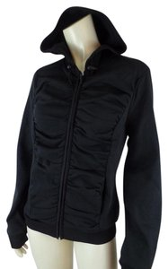 Yoki New Shirred Stretch Zip Black Jacket