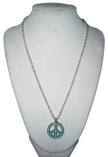 "Handmade Handmade Light Blue Color Peace Sign Stainless Steel 18"" Chain Necklace"