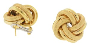 14K Yellow Gold Textured Love Knot Earrings - Gold Earrings