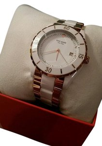 Kate Spade Kate Spade Seaport Grand Rose Gold Two Tone White Ceramic Watch NEW