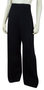St. John Santana Knit Stretch Wide Elastic Wide Leg Pants Black
