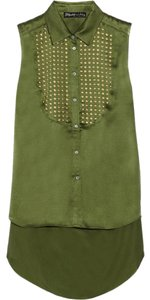 Elizabeth and James Silk Studded Top Green