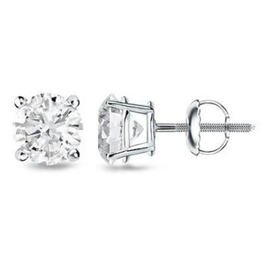 Other Round Earrings Screw On 14k White Gold 1.50 Ct Lab Diamond Studs