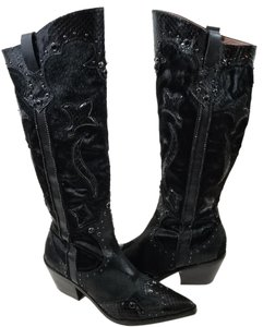 Donald J. Pliner Leather Mixed Textures Black Boots