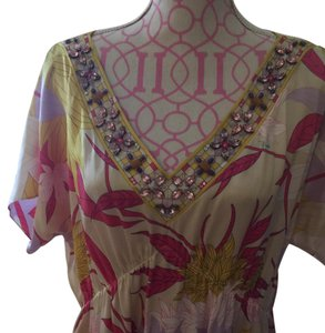 Emilio Pucci Top Multi color silk with embezzling around the neckline