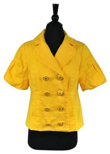 Juicy Couture Button Double Breasted Lined Casual Short Sleeve Yellow Jacket