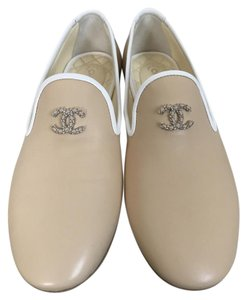 Chanel Logo Loafers Beige Flats