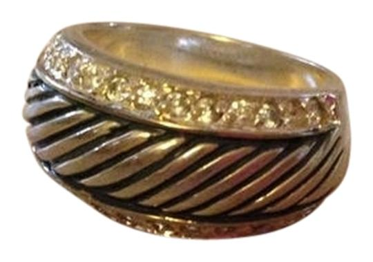 Other Sterling Silver Cable Ring with Rhinestones. Size 7.5