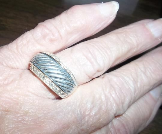 Other Sterling Silver Cable Ring with Rhinestones. Size 7.5 Image 1