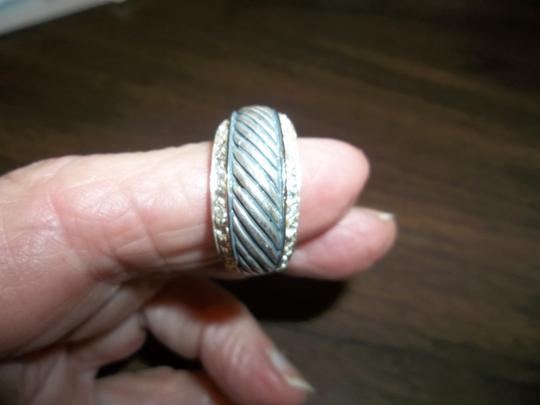 Other Sterling Silver Cable Ring with Rhinestones. Size 7.5 Image 3