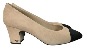 Chanel Suede Cap Toe Beige Pumps