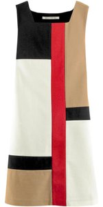 Diane von Furstenberg short dress Red, Black, White, Tan Color-blocking Retro Patchwork Shift Comfortable on Tradesy