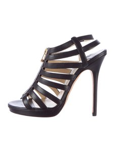 Jimmy Choo Glennys Platform Caged Gladiator Black Sandals