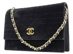 Chanel Velour Velvet Suede Shoulder Bag