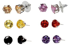 Vecceli Italy Cubic Zirconia Stud Earrings - Set of 6