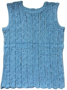 Other Crocheted Knot Unique European Top Baby Blue