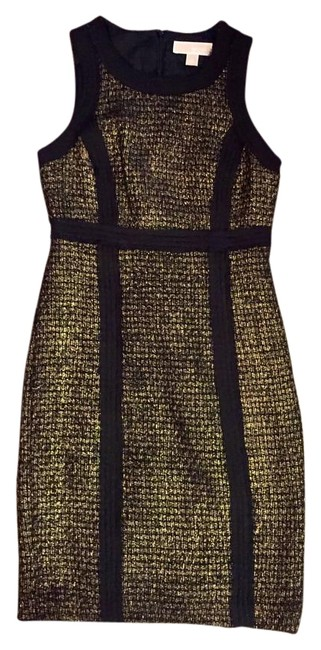 Item - Black/Gold Holiday Go For The Above Knee Work/Office Dress Size 2 (XS)