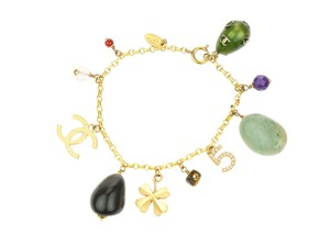 Chanel Brushed Gold Chain CC Stone Charm Bracelet