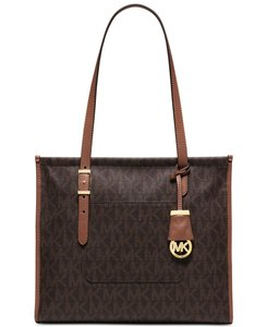 Michael Kors Vivian Large Shell Acron Suede Hobo Tote in Brown/Peanut
