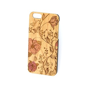 Case Yard NEW Cherry Wood iPhone Case with Red Flower Design, iPhone 7s+