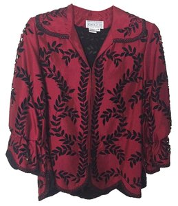 Saks Fifth Avenue Silk Buttonup Top Burgundy and black