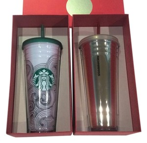 Starbucks 2 NEW Starbuck insulated cups w/matching lids and straws (gift boxed).