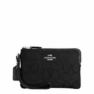 Coach Grained Leather Wristlet in Black
