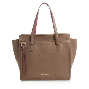 Salvatore Ferragamo Amy Large Bicolor Tote in Nutmeg / Anemone