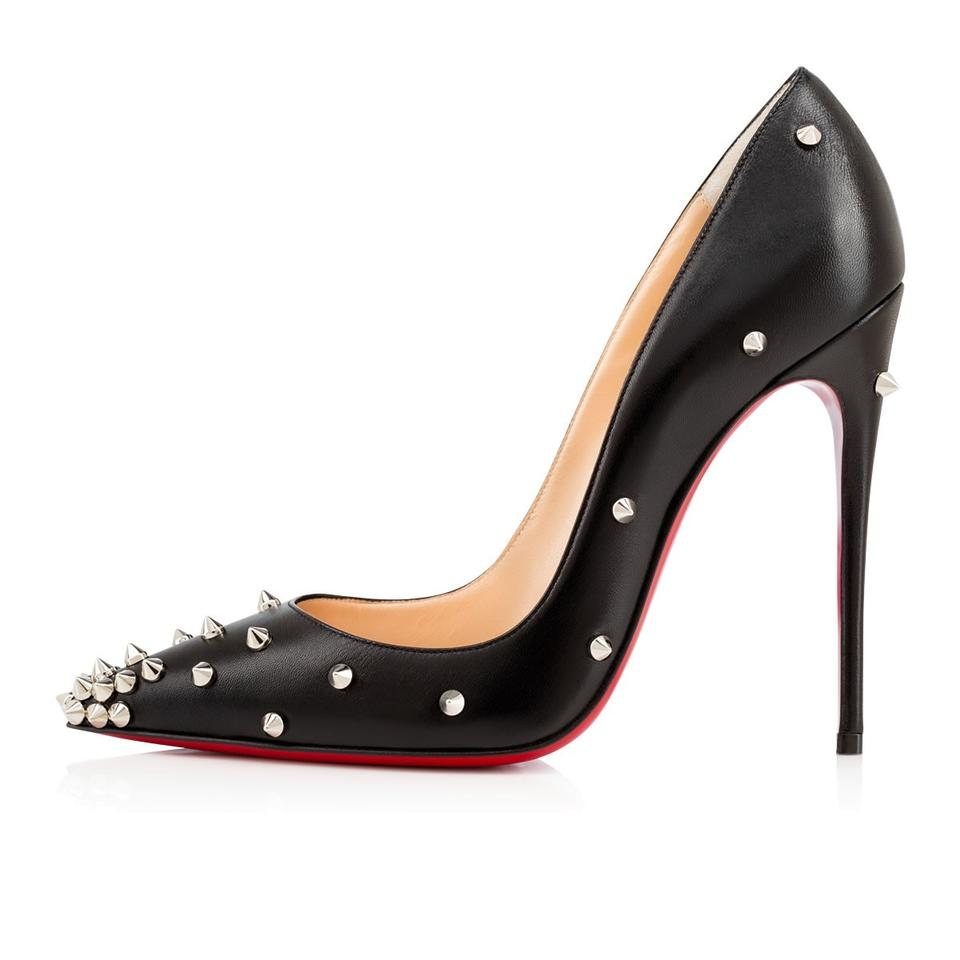 finest selection 81636 eb76c Christian Louboutin Black Silver Leather Degraspike Studded Pumps Size EU  37.5 (Approx. US 7.5) Regular (M, B) 18% off retail