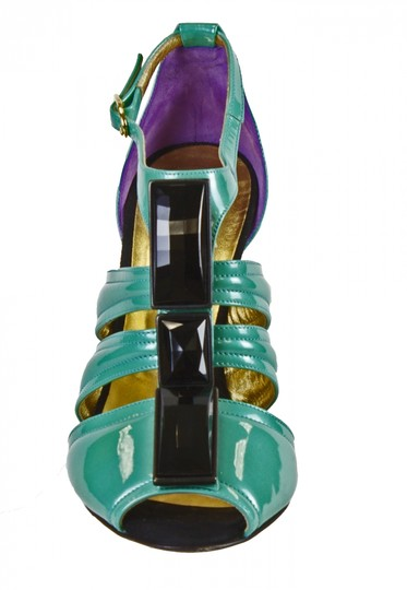 Just Cavalli Sexy Heels Bootie Leather Embellished Turgoise, Black, Purple Sandals Image 1
