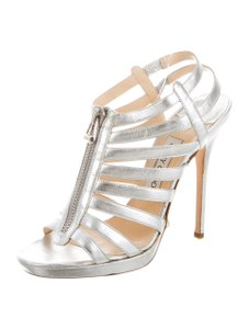 Jimmy Choo 9 Caged Strappy Silver Sandals