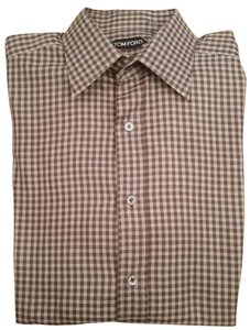 Tom Ford Button Down Shirt Brown/White Gingham