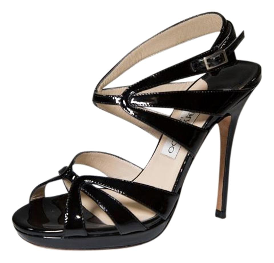 Jimmy Leather Choo Black Strappy Caged Leather Jimmy Sandals 01298a