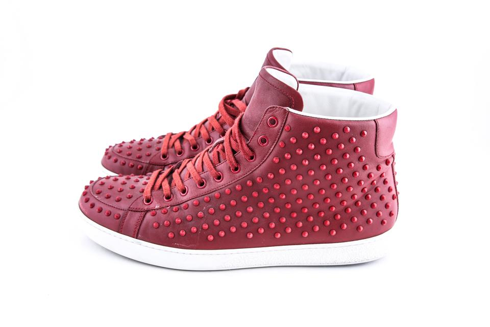 ecc5e5f3c4d Gucci Red Brooklyn Leather Studded High-top Sneaker Boots Booties ...