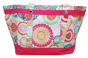 Thirty-One Bags Canvas Beach Bright Print Tote in Citrus Medallion