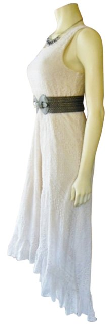 Light Beige Maxi Dress by Other High Low Tank Ruffled Cowgirl Country Brunch Beach Cottage Size Medium Lace Western